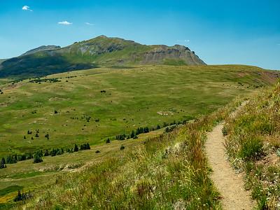 Looking back along the CDT towards Long Trek Mountain, 12860 ft