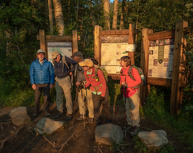 OK, on to the hiking. Seven of us decided to tackle nearby Mt. Elbert, highest peak in Colorado. We arrived at the trailhead a few minutes after sunrise, too confused to pose for a proper group shot.