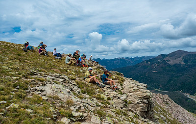 Lunch stop at the top of the Hour Glass formation. Far, far below is highway 160 snaking over Wolf Creek Pass.