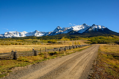 North Pole and Hayden Peaks with the zig zag fence at Last Dollar Ranch