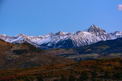 Last light of the evening on Mount Sneffles, from Dallas Divide
