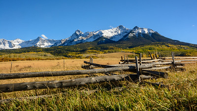 Zigzag fence with North Pole and Hayden Peaks