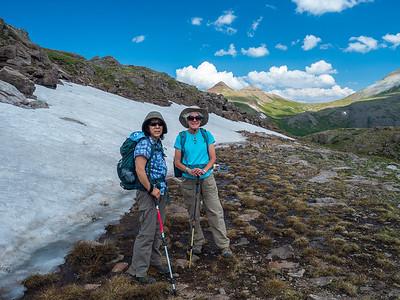 Miyuki and Sue pause at at a snowfield