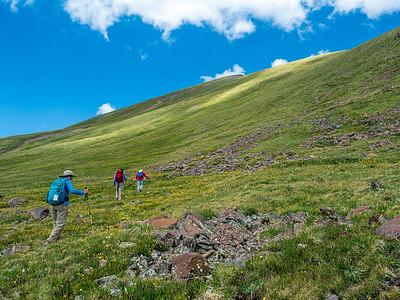 Tony, Doug and Sue at the base of Summit Peak