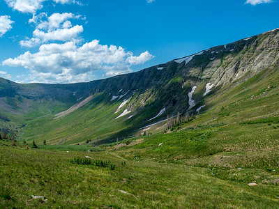 Looking back down the glacial valley as we start our climb to the CDT