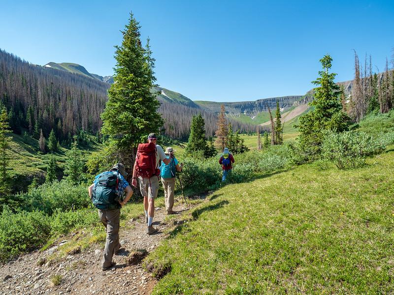 Tony, Sue, Doug and Miyuki hiking the Treasure Creek trail up a gorgeous glacial valley.