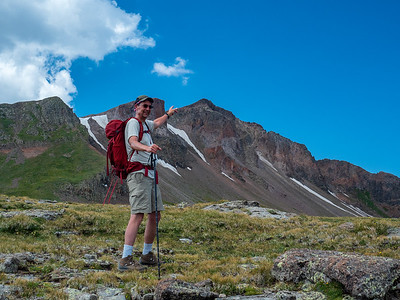 Doug is pointing the way to the peak of Summit Mountain, our goal.