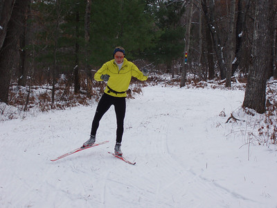 Glenn Goodman skiing without poles.