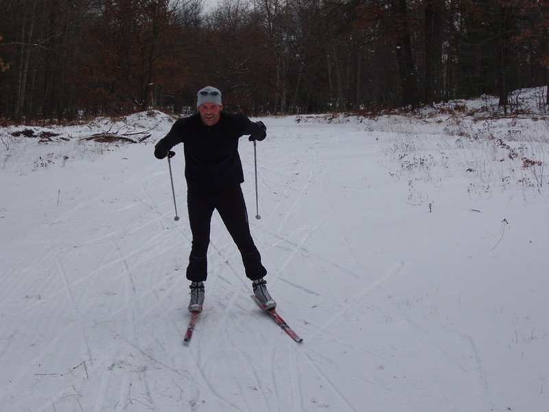 Bob Smith from Bob's Bike Shop and the Cross Country Ski Shop getting a little ski in before work.