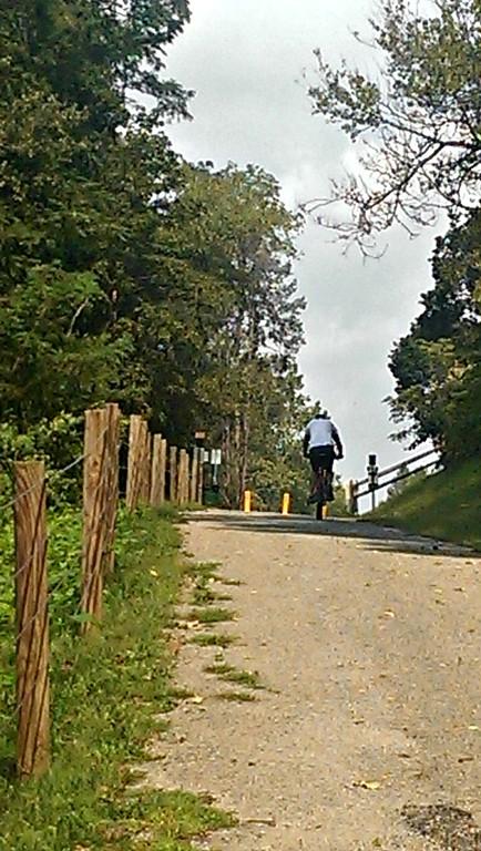 Climbing to the Bairdstown Bridge