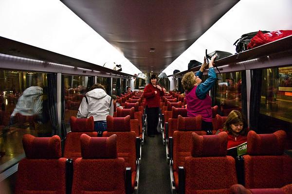 Overlander carriage - inside Britomart train station Auckland New Zealand - Aug 07