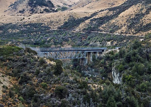 Rail bridge Waimakariri River Gorge Canterbury South Island Te Wai Pounamu New Zealand - Sep 07