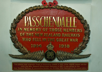 Passchendael plaque Addington train station Christchurch South Island Te Wai Pounamu New Zealand - Sep 07