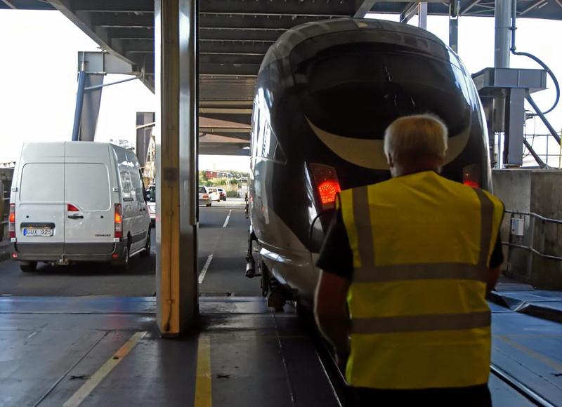 DB 605xxx, Rodby, Denmark, Thurs 16 July 2015 - 2032. Leaving Prins Richard for Copenhagen, due 2213.
