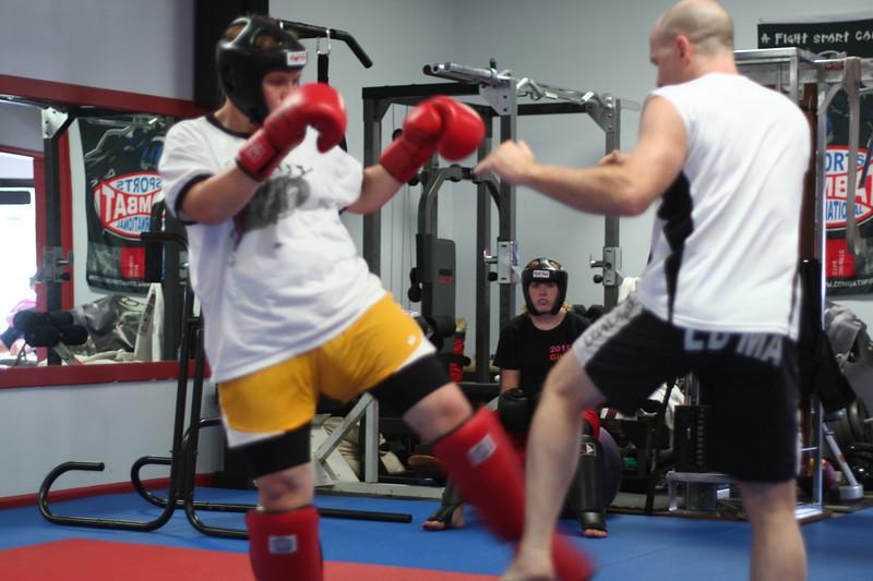 Mr. Dring showing the defense to Leg Kicks.