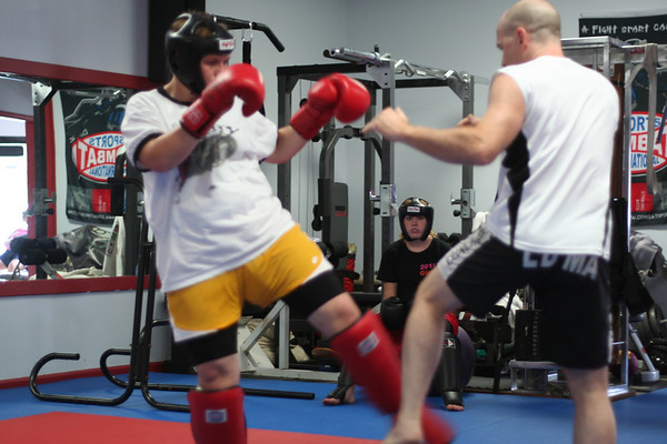 Mr. Dring showing the defense to Leg Kicks.