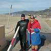 Our main man at ZUMA, Raleigh.<br /> Beach lifeguard Tower at Zuma Beach looks after Coach Nancy Reno's swimmers.