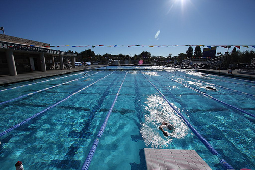 CAL Lutheran Competition Pool and Dive Well setup with the bulkhead.<br /> Winter... can you imagine!!