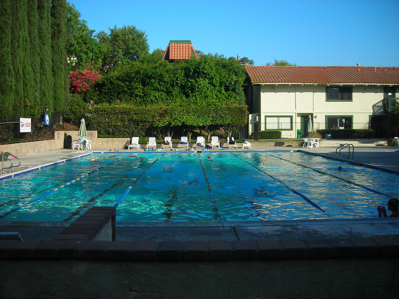 Westlake Country Club Pool (and jacuzzi) on a quiet Sunday morning stroke session.
