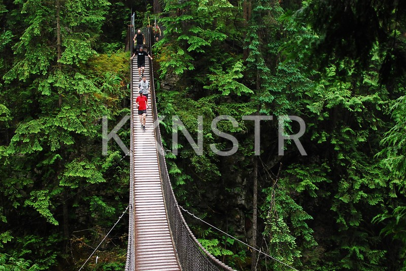 Crossing Lynn Canyon Suspension Bridge.  This was part of the course for the first 6 years of the race.