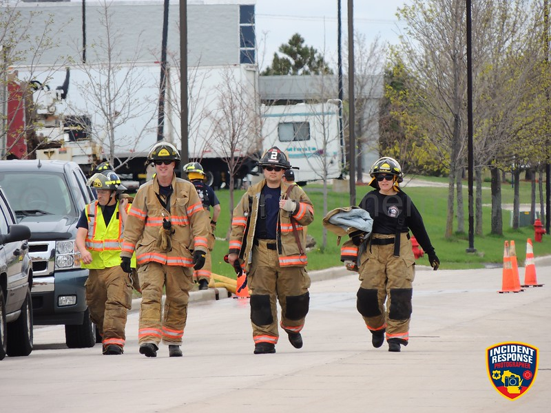 Joint training with Sheboygan Fire Department and the Town of Wilson Fire Department on Gateway Drive in Sheboygan, Wisconsin on Wednesday, May 14, 2014. Photo by Asher Heimermann/Incident Response.