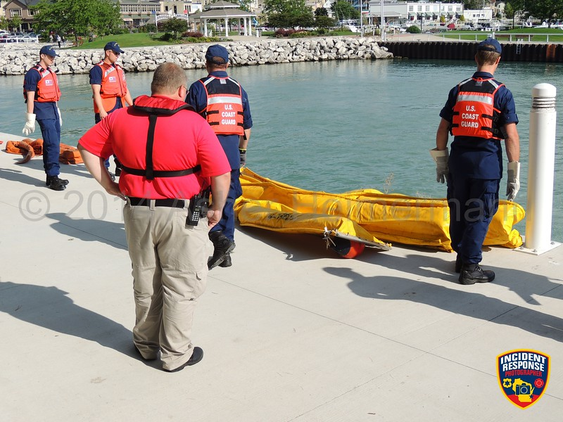 Ozaukee County Emergency Management, U.S. Coast Guard and Port Washington Fire Department held an emergency preparedness exercise at the Port Washington Marina on Wednesday, August 27, 2014. Photo by Asher Heimermann/Incident Response.