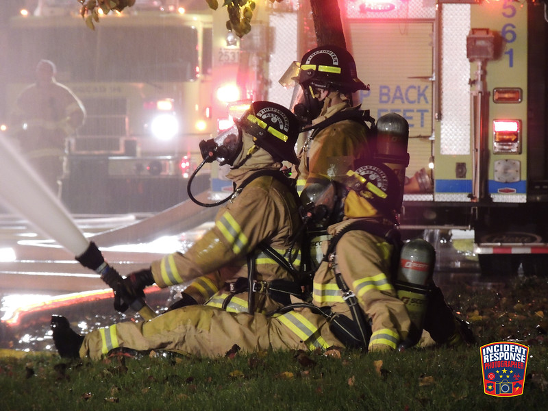 Multiple firefighters participate in live-fire training at Center Avenue and North Sauk Trail Road in Oostburg, Wisconsin on Tuesday, November 1, 2016. Photo by Asher Heimermann/Incident Response.
