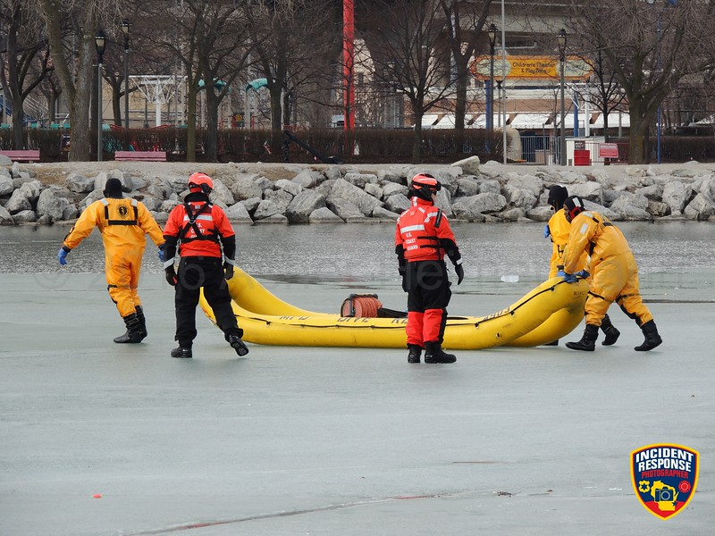 Coast Guard Station Milwaukee conducted joint ice rescue training with local agencies at Lakeshore State Park in Milwaukee, Wisconsin on Sunday, February 28, 2016. Photo by Asher Heimermann/Incident Response.