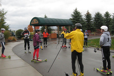 Roller Ski clinic with Lyndsey Weier Dehlin (red tights) at the Grand Traverse Resort on Saturday Oct. 25.