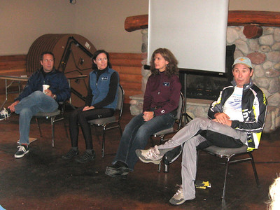 Panel discussion on training and race prep by Vasa skiers: Aaron Swanker, Deb Westphal, Judy Vajda, and Cliff Onthank.