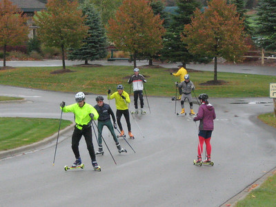 Roller ski participants worked on V-2, V-2 alternate & V-1. Afterwards, technique was critiqued using videotape.