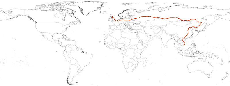 Longest train journey in the world route map