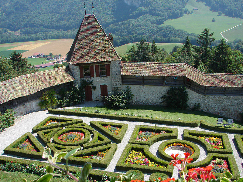 Gardens at the Gruyere castle
