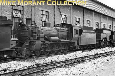 EAR: East African Railways and Harbours Locomotive class: EB3 Wheel arrangement: 4-8-0 Engine no.: 2458 Builder: Vulcan Foundry Location: Nairobi Date: 1969