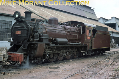 EAR: East African Railways and Harbours Locomotive class: EB3 Wheel arrangement: 4-8-0 Engine no.: 2458 Builder: Vulcan Foundry Location: Nairobi Date: 8/77