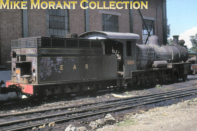 """EAR: East African Railways and Harbours Locomotive class: DL Wheel arrangement: 4-8-0 Engine no.: 2301 Builder: Beyer, Peacock & Co. Ltd. Location: Nairobi Date: 11/74 Originated with the Tanganyika Railway and is now preserved in its original TR form as no. 301. This loco was cosmetically restored and used in the movie """"Out of Africa in 1985."""