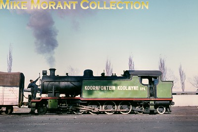 """South African industrial steam railways Koornfontein Collieries 4-8-4T No. 1 shunts in the Witbank district (Transvaal) in 1974. A """"standard"""" North British Locomotive Company industrial tank, it had been supplied [under Queens Park (Glasgow) works number 26246/1948] to the Anglo-Alpha Cement Company but transferred to the Witbank coalfield via Dunns in 1963. [A.E. """"Dusty"""" Durrant / Mike Morant collection]"""