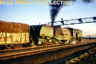 Zimbabwe Steam railways An unidentified 16th class Beyer Garratt 2-8-2 + 2-8-2 catches the setting sun circa 1995. [Photographer not known/Mike Morant collection]