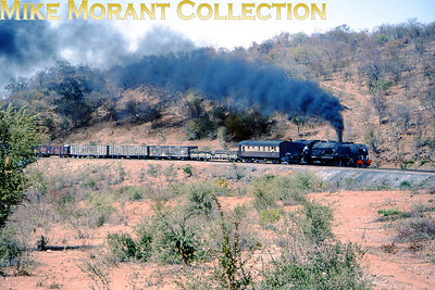 Zimbabwe Steam railways An unidentified 15A class Beyer Garrat 4-6-4 + 4-6-4  -  one of the '15' class subcontracted to Société Franco-Belge -  on railfans duties circa 1995. [Photographer not known/Mike Morant collection]