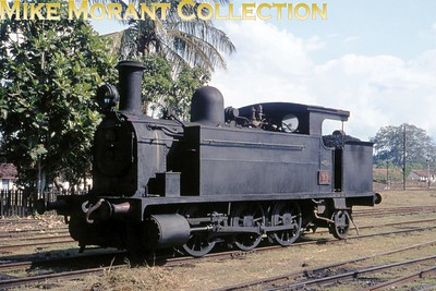 Ceylon Government Railways broad gauge E1 class 0-6-2T no. 93 taken at Anuradhapura on 18/2/76. No. 33 was a Dübs & Co. built engine with works no. 3579/1898 originally an 0-6-0T but converted -  I don't know when -  to the wheel arrangement shown here. I have a note here that no. 93 is extant at Dematagoda shed and is the oldest surviving CGR loco. [Mike Morant collection]