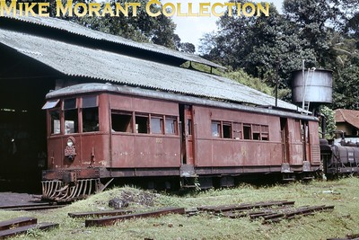 """Ceylon Government Railways 2' 6"""" narrow gauge Sentinel V2 class geared steam railcar no. 332, works no. 7304/1928, at Ratnapura in April 1975. [Mike Morant collection]"""