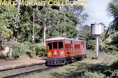 "Restored Ceylon Government Railways 2' 6"" narrow gauge Sentinel V2 class geared steam railcar no. 331, works no. 7303/1928, at Homagama on 10/1/92. This magnificent museum piece is now stranded as a static exhibit because there are no longer any narrow gauge tracks left for it to run on. [Martin Robinson / Mike Morant collection]"