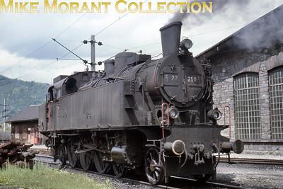 Austrian steam locomotive ÖBB 4-6-2 tank engine no. 77.250 on shed at Bruck an der Mur on 15/6/67.