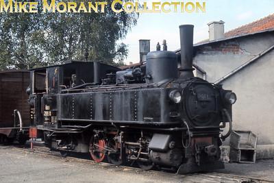 Austrian steam locomotive  -  760 mm narrow gauge Steyrtalbahn 0-6-2 tank engine no. 298.14 on shed at Garsten on 12/9/68.