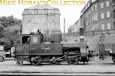 DSB  - Danish State Railways - F II class 0-6-0T no. 453 shunting at an unstated location in Copenhagen on 13/8/58. No. 453 was built by Hanomag in 1910 and would be withdrawn in 1970. [Mike Morant collection]