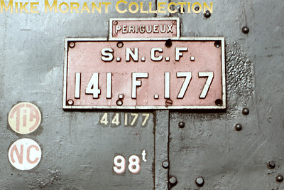 The brass number plate of SNCF 2-8-2 no. 141 F 177 photographed on 3/9/62.