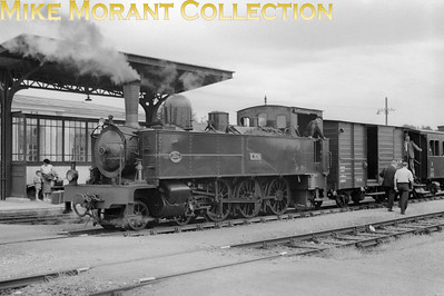 French narrow gauge railway  -  Réseau Breton RCTS visit on 6-7-57 Compagnie Fives - Lille 1909 built 4-6-0T no. E328 with the RCTS charter train at Loudéac. This pretty railway sytem and its equally attractive rolling stock became largely defunct in 1967 and fortunately two of these Fives locos have survived into the heritage era.