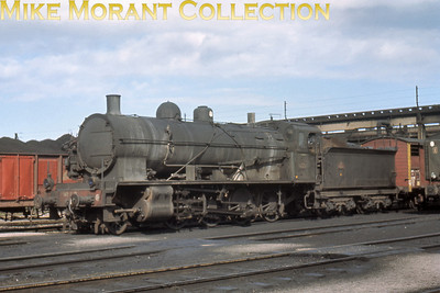 Looking somewhat careworn, SNCF 2-8-0 no. 140 C 17 at dépôt Chaumont on 13/9/66.