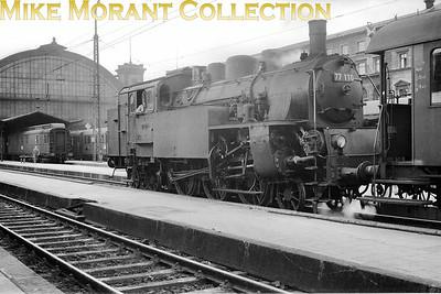 Pre-war German steam  -  Deutsche Reichsbahn-Gesellschaft (DRG) Krauss built Bavarian BR Pt 3/6 2-cylinder simple 2-6-4T no. 77 110 at München Hbf circa 1938.