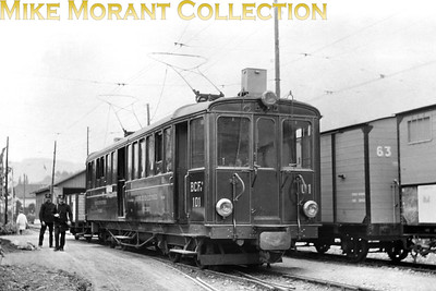 Chemins de Fer Electrique Veveysans  -  CEV Swiss metre gauge electric railcar no. BCFe 101 photographed circa 1920. Car no. 101 entered service in 1903 and was scrapped in 1983. Perhaps a sharp eyed viewer can tell us the location. The alphabetic prefix is of its time and denotes B = 2nd class, C = 3rd class and F = luggage. Some of that coding sytem was changed in later years. [Mike Morant collection]